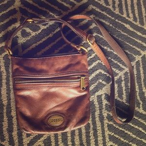 Brown leather Fossil crossbody
